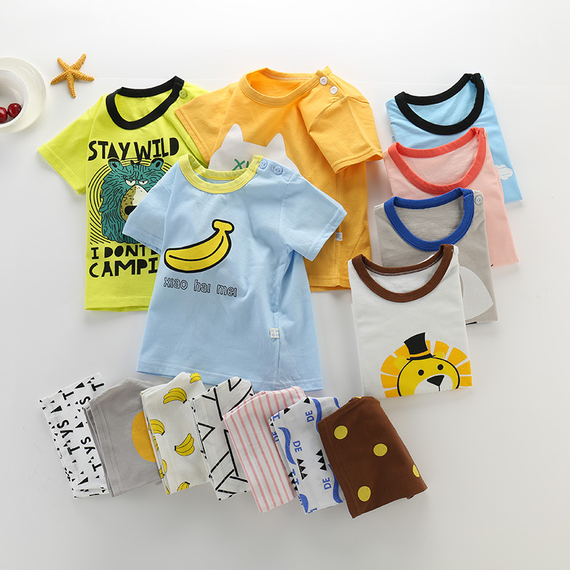 Boys Girls Summer Clothing Sets Tshirt+Short Pants 2pcs Cartoon Sleeve T Shirt Striped Shorts Suit Tops Pants Sports Suit