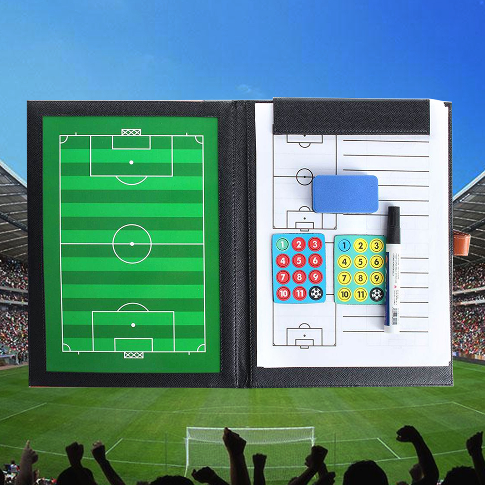 Pizarra Futbol Portable Football Soccer Tactical Board Fold Leather Useful Teaching Board Soccer Trainning Assisitant Equipments
