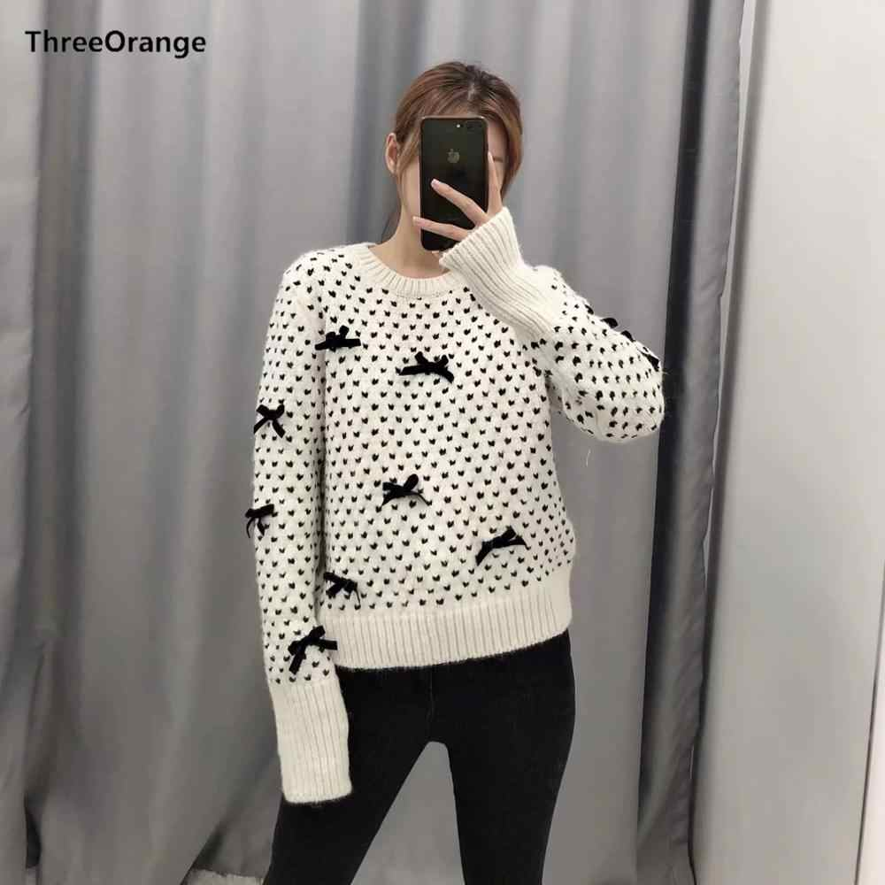 Za 2019 女性のセーター秋冬暖かいトップスニットちょう結び装飾セータープルオーバーカジュアルプル女性服
