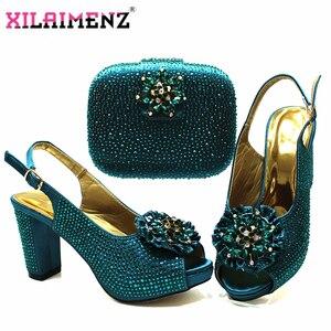 Image 3 - Высококачественный Итальянский новый дизайн, комплект из обуви и сумки бирюзового цвета, удобные вечерние туфли на каблуке и сумочка