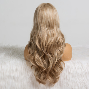 Image 4 - Long Wavy Hairstyle Synthetic Wigs Middle Part Blonde Natural Hair Wigs For Afro Women Cosplay Wigs Heat Resistant Fiber