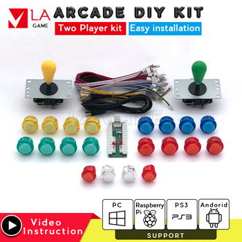 kit arcade 2 player  zero delay mando arcade usb encoder to PC Rasberry PI joystick usb arcade cabinet retro arcade machine one player arcade game diy parts kit usb encoder pc joystick retro game diy kit for raspberry pi 3 retropie