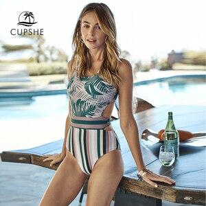 Image 3 - Cupshe Lòng Bàn Tay Và Sọc Đồ Bơi Một Mảnh Sexy Phối Ren Bể Cắt Ra Monokini 2020 Bé Gái Đi Biển bộ Đồ Tắm Đồ Bơi