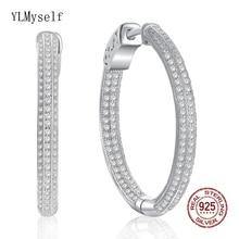 Highly recommend 29 MM Diameter Nice Real 925 Sterling Silver Earrings Jewelry Women Statement Fine Hoop Earring