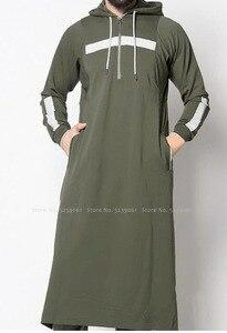 Image 2 - Men Jubba Thobe Arabic Islamic Clothing Muslim Dress Saudi Arabia Long Robe Abaya Dubai Loose Blouse Kaftan Sweater Hoodies Tops
