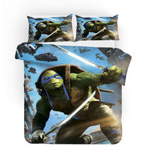 3D Print Duvet Cover Set, Teenage Mutant Ninja Turtles Set Blue Sea 3/4pcs Bedspreads Teens kid bedlinens(China)