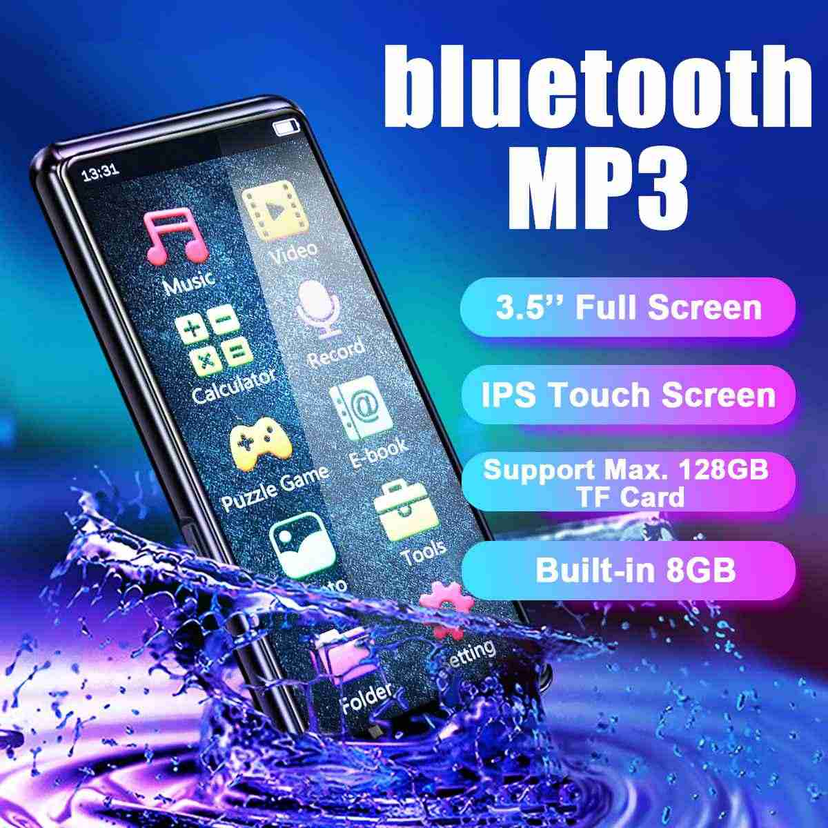 Pantalla táctil de 3,5 pulgadas bluetooth Hifi MP3 reproductor de música Video grabadora de voz Radio FM integrado en altavoces de 8GB tp 128GB TF tarjeta