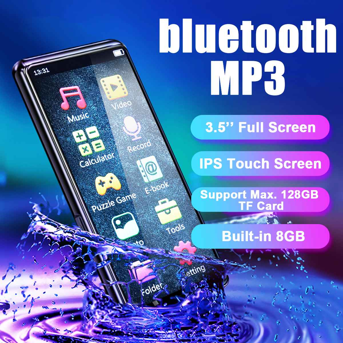 3.5inch  Touch Screen Bluetooth Hifi MP3 Music Player Video Voice Recorder FM Radio Built In 8GB Speakers Up Tp 128GB TF Card