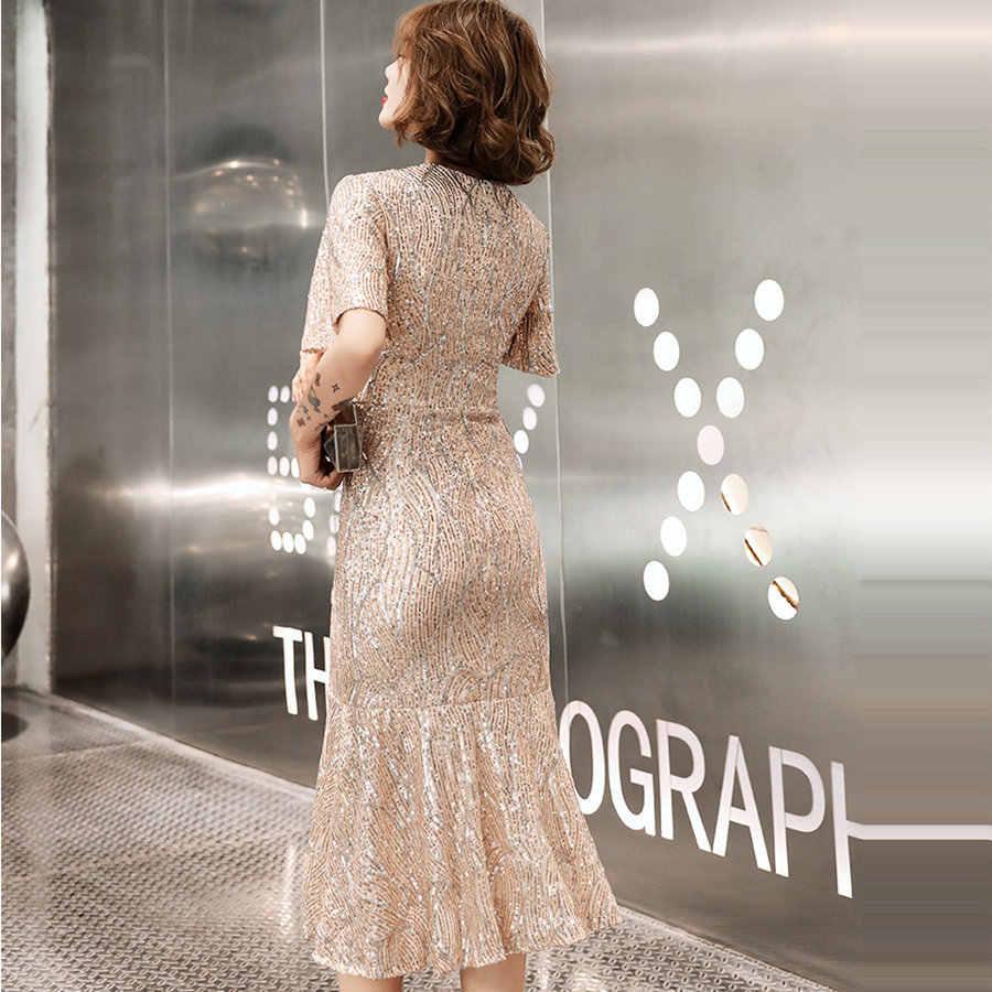 כיכר צווארון בת ים שמלה לנשף אופנתי שמפניה בתוספת גודל נשים המפלגה שמלות K025 Vestidos דה גאלה 2019 פאייטים לנשף שמלות