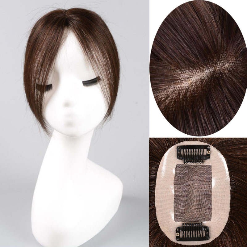 Top Piece Closure Toupee Straight Synthetic Protein silk Hair Hand-made Natural Black  dark brown Topper Hairpiece