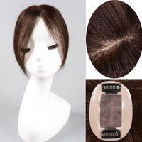 Top Piece Closure Toupee Straight Synthetic Protein silk Hair Hand made Natural Black dark brown Topper Hairpiece