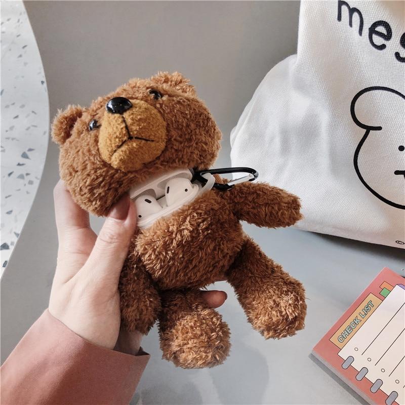 Cartoon Plush Teddy Bear Protector For Airpods 1/2 3 Pro Plush Bear Protector Wireless Bluetooth Headset Storage Box