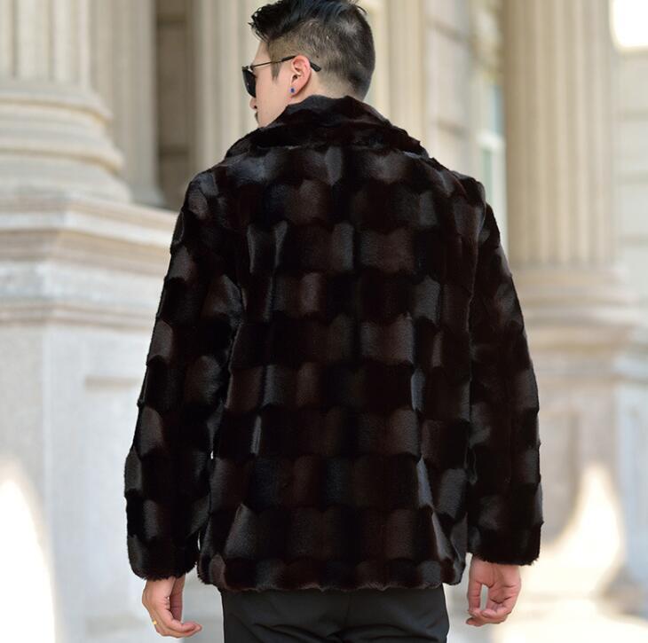 Risvolto Autunno visone del faux giacca di pelle mens di inverno addensare caldo cappotto di pelle pelliccia degli uomini di sottile giacche jaqueta de couro nero 964 - 4