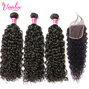 Vanlov Water Wave Bundles With Closure PrePlucked With Baby Hair Malaysian 3 Human Hair Bundles With Closure Remy Hair Extension