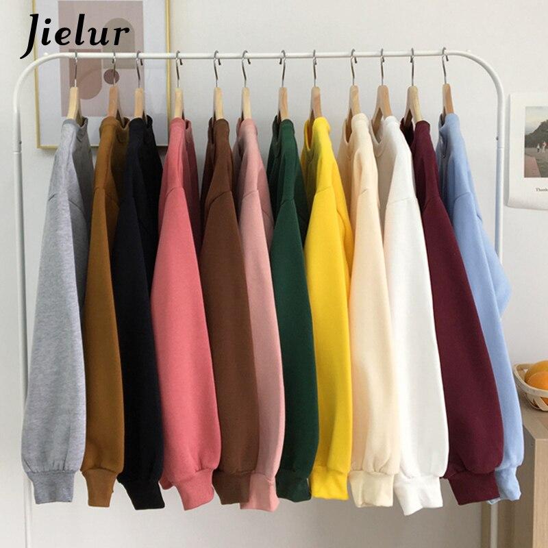 Jielur 12 Solid Color Hoodies Jersey Women Winter Fleece Korean Harajuku Sweatshirt Women Kpop Kawaii Black Pink Womens Pullover