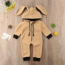 Baby Clothes Boys Girls Rompers 2019  New born Cute Cartoon Overalls for children Infant Cotton Rabbit Animal jumpsuit Costume autumn cotton rabbit ear knitted rompers infant girls boys cute animal playsuits dot printed hooded outfits baby clothes