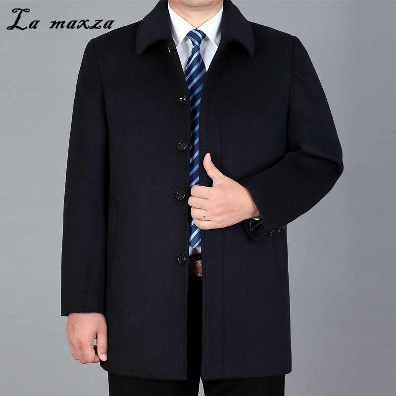 Winter Fashion 2019 New Arrival Plus Size Cashmere Mens Coats Smart Casual Middle Age Clothing