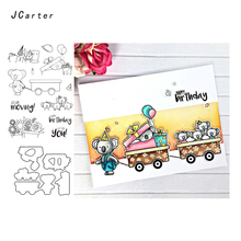 JC Metal Cutting Dies and Rubber Stamps Scrapbooking Craft Happy Birthday Animal Moving Die Cut Stencil Card Making Album Sheet