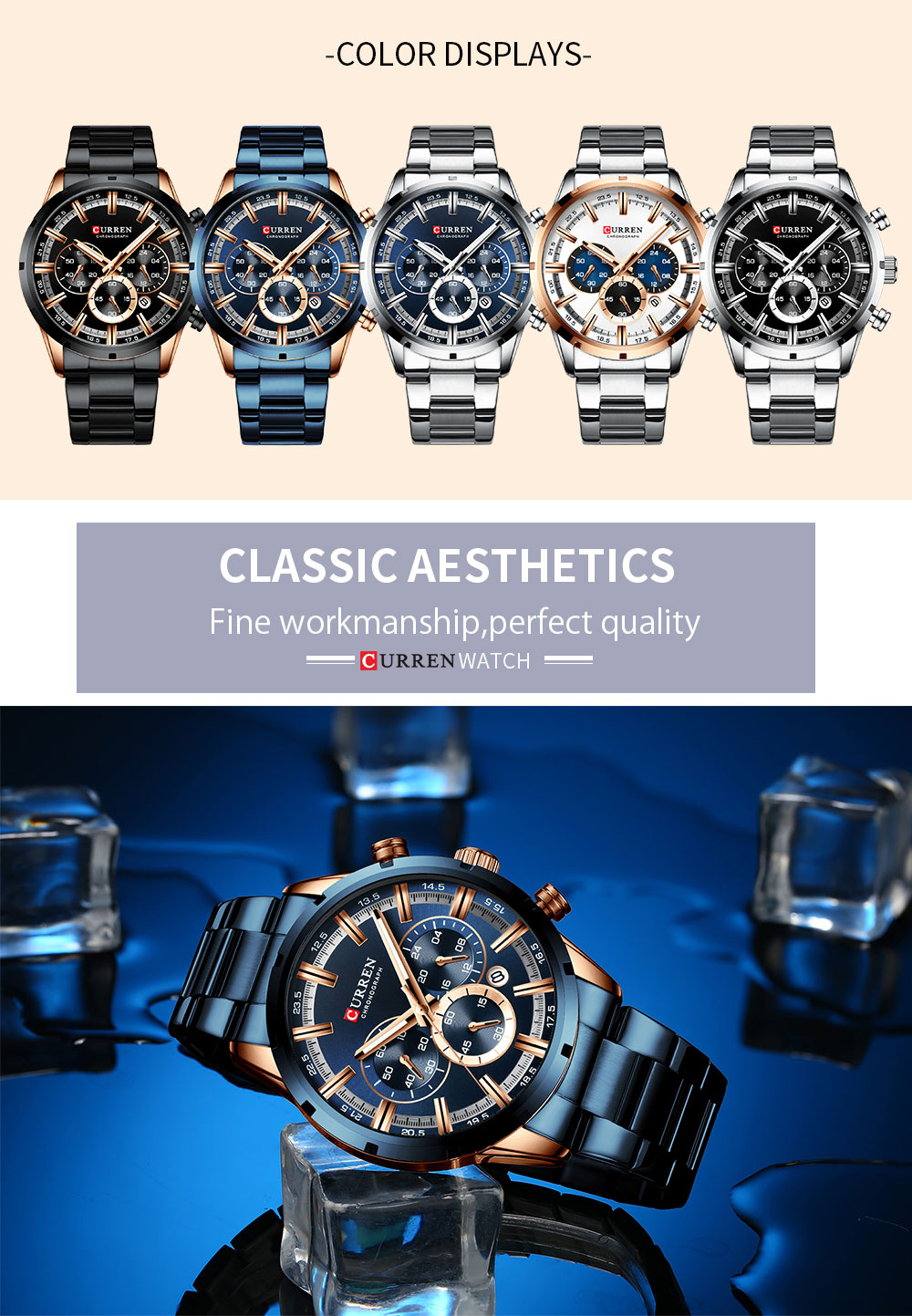 CURREN New Fashion Mens Watches with Stainless Steel Top Brand Luxury Sports Chronograph Quartz Watch Men Relogio Masculino H27617f536c4d4940b63c54ff4e6ba0cej
