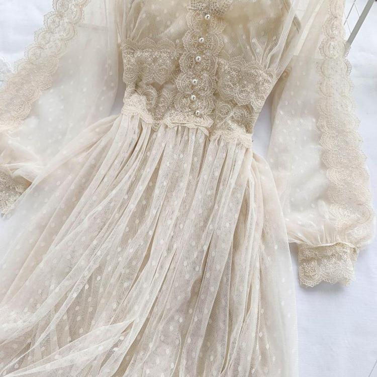 Lace Floral V-Neck Long Sleeve Polka Dot Dress 7