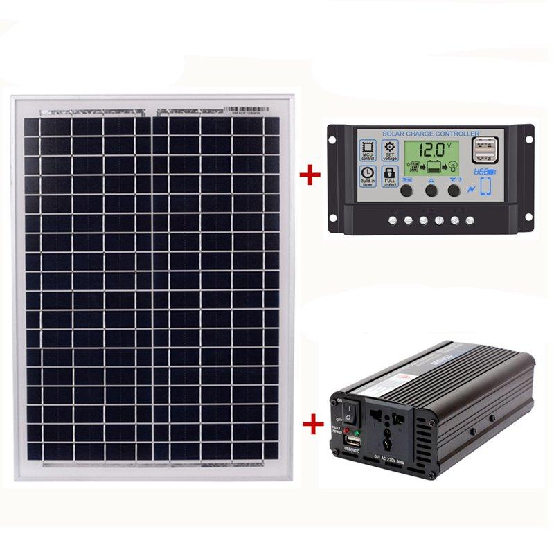 18V20W Solar Panel +12V / 24V Controller + 1500W Inverter Ac220V Kit, Suitable For Outdoor And Home Ac220V Solar Energy-Saving P