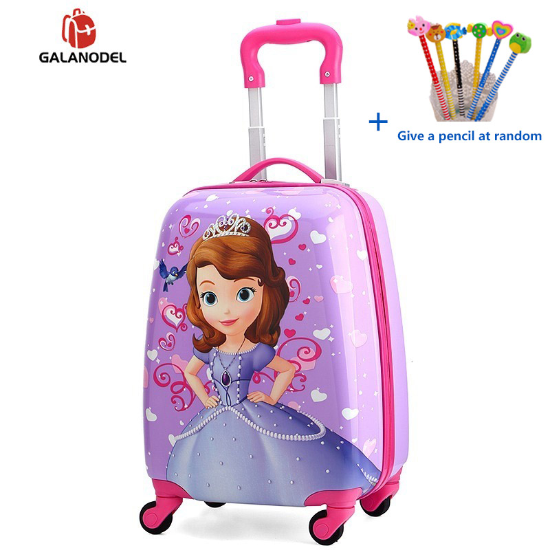 Children's Cartoon Suitcase Child Trolley Case Luggage Kids Schoolbags Travel Suitcase With Wheels 3D 18inch Case Kid's Toys Box