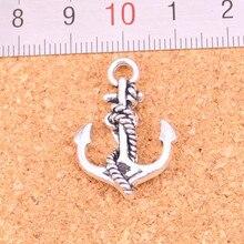 11 pçs âncora corda encantos liga de metal diy colar pingente fazendo descobertas jóias artesanais 28*20mm