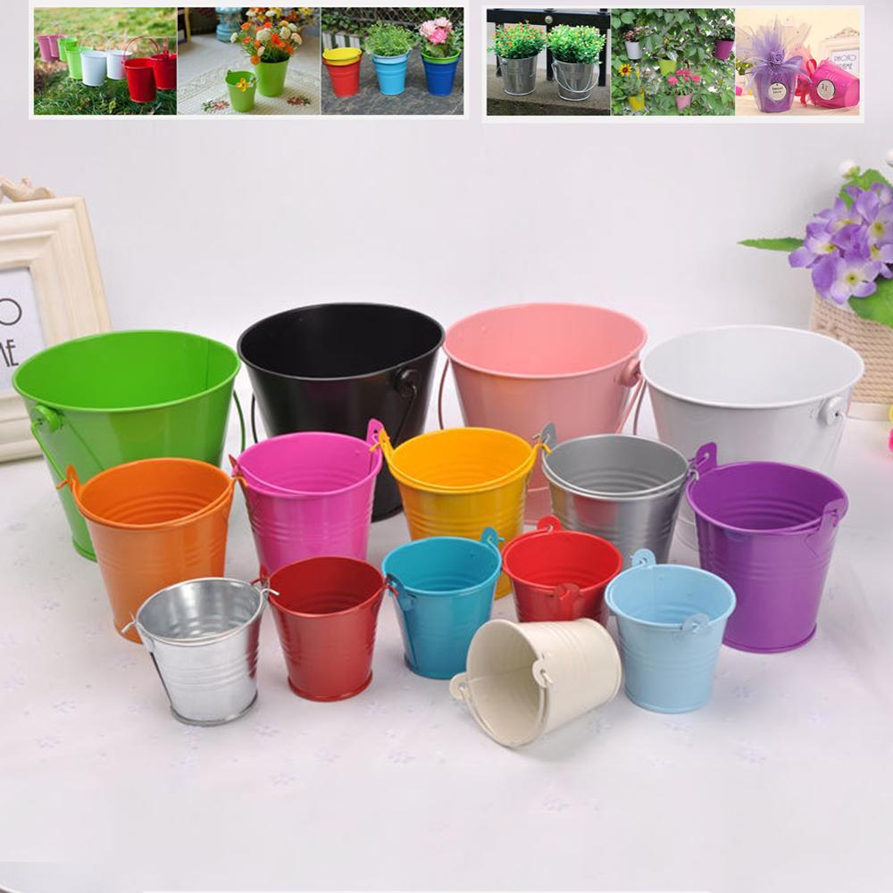 3 Pcs Creative Tinplate Mini Iron Bucket Flower Pots Small Medium And Large Kinds Home Storage Ornaments Crafts Metal Wholesale