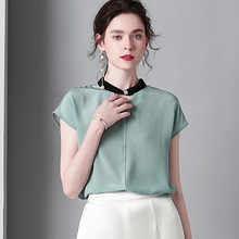 100% Silk Blouses Solid White Ladies Tops Casual Choker Collar Lake Blue Pullover Summer Short Sleeve Tee Shirt Womens Clothing flounce sleeve choker tee