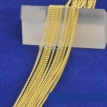 5 peças de alta jóias femininas 1.9mm 18 k ouro corrente plana colar charme colar de ouro 16