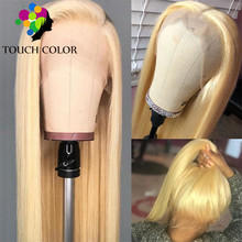 613 Blonde Lace Front Human Hair Wig Peruvian Straight 13x4 Lace Wig With Hairline Color Long Remy Hair Lace Front Wig For Women все цены