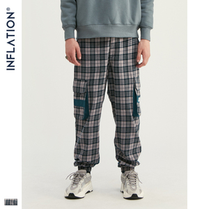 Image 4 - INFLATION Streetwear Men Plaid Jogger Pants  Joggers Casual Pants 2020 Man Hip Hop Pants Plus Size Jogger Casual Pants 93367W