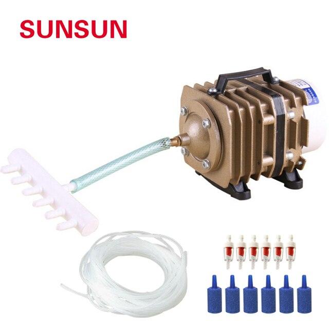 SUNSUN aquarium electromagnetic air compressor air pump is suitable for large aquarium pond aerator 220V With hose and gas stone