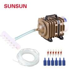 Sunsun bomba de ar eletromagnética, compressor de ar eletromagnético para aquário, grande, 220v com mangueira e gás pedra de pedra