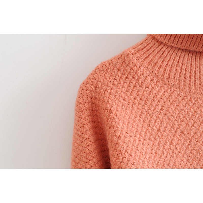 패션 za 여성 스웨터 2019 겨울 여자 터틀넥 스웨터 단색 긴 소매 느슨한 풀오버 니트 점퍼 여성