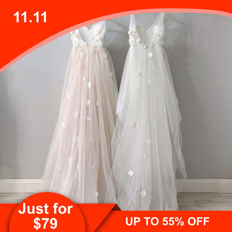 Lakshmigown Floral Boho Wedding Dress Pink 2019 Elegant White Tulle Bridal Lace Sexy Princess Gown Vestido Novia