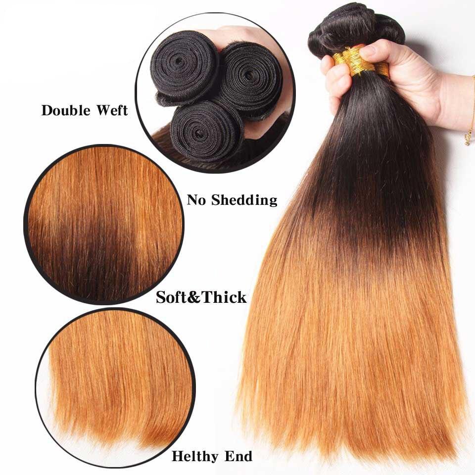 Mechones de cabello liso peruano Ombre 1B 4/27/30 Color 100% mechones de cabello humano postizo 8 26 pulgadas extensión de cabello Remy 3/4 mechones - 5