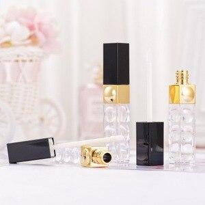 50 unids/lote 5ml tubos de brillo de labios de oro negro contenedor cosmético herramienta de maquillaje de belleza Mini botellas recargables tubo de brillo de labios