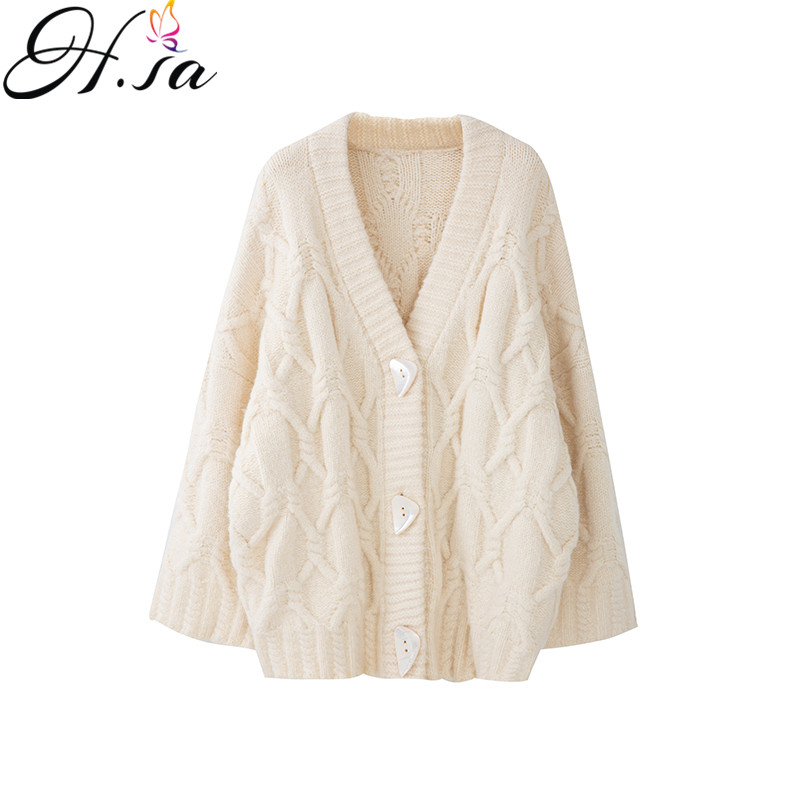 H.SA Women Sweater And Cardigans V Neck Loose Style Oversized Casual Jacket Loose Style Korean Knit Poncho V Neck Long Cardigans