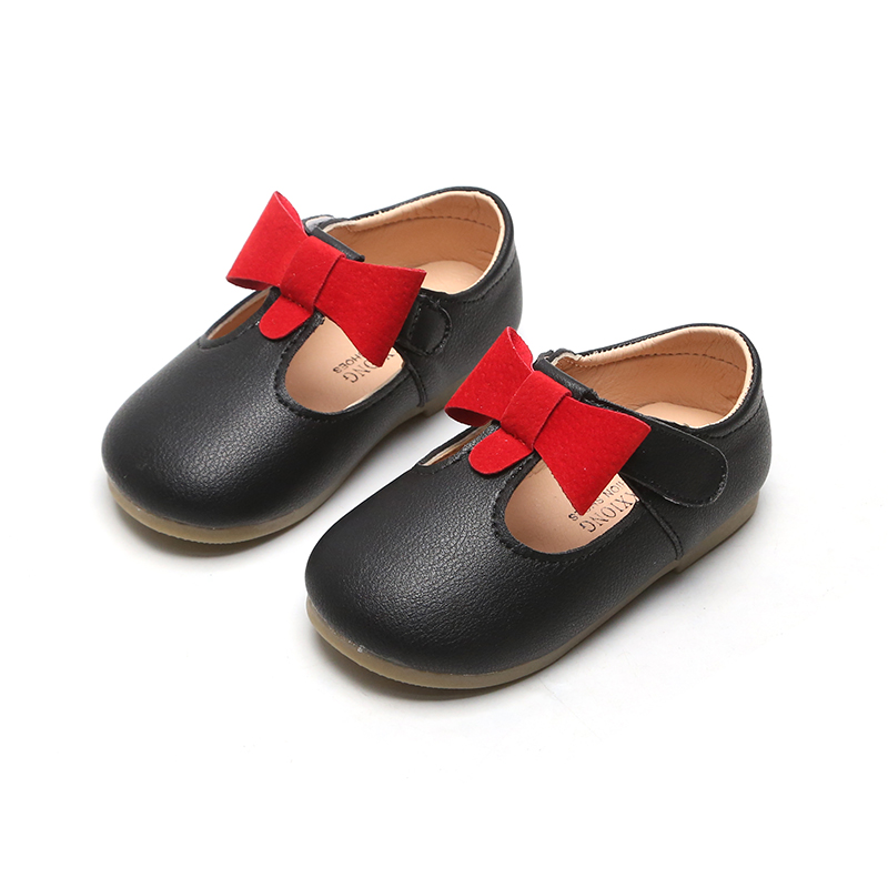 Spring New Kids Leather Shoes For Girls Princess Flat Sneakers Bowtie Baby Girl Shoes Soft Bottom Children Toddler Shoes SMG076