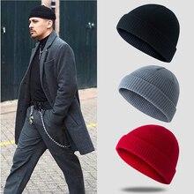 Мужская вязаная шапка ZHIMO в винтажном стиле, шапка с черепом, шапка моряка, теплая короткая шерстяная шапка, шапка в морском стиле, вязаная шапка, модная шапка для пары
