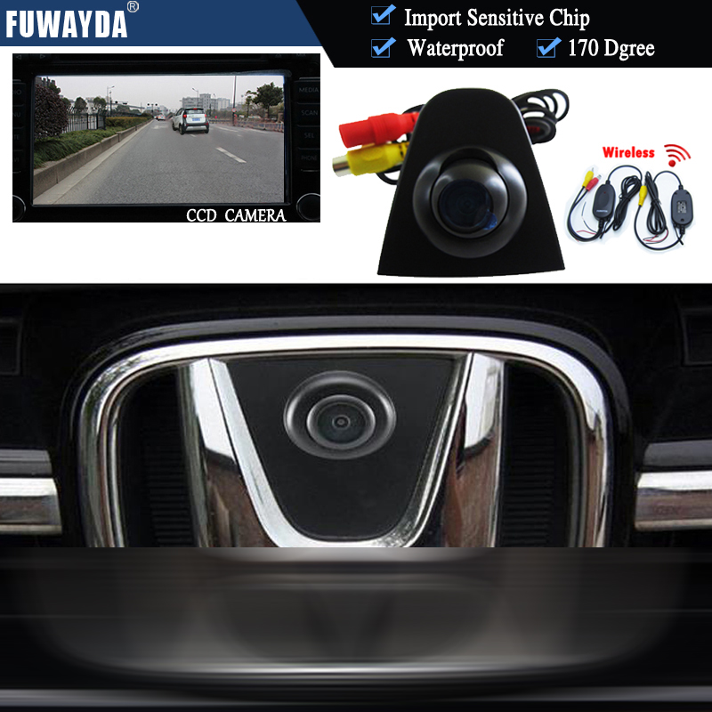 Wireless CCD HD Car Front View Logo Camera For Honda Odyssey accord Civic CRV XR-V Spirior Crosstour Fit City car logo parking