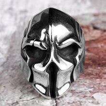 Anéis de aço inoxidável dos homens capacete espartano guerreiro crânio punk rock gótico para motociclista masculino menino jóias criatividade presente atacado