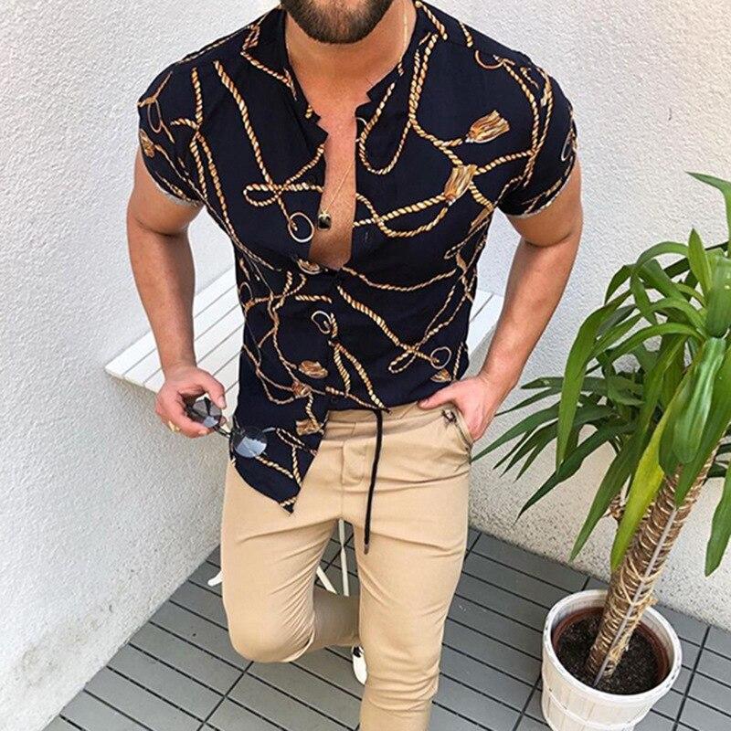 Men's Short Sleeve Hawaiian Cardigan, Lapel Stripe Digital Print Shirt Loose Single Breasted Casual Summer Shirt