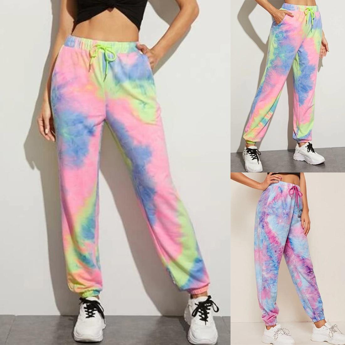Puimentiua Tie Dye Printed Sweatpants Women Casual Loose Long Trousers Elastic High Waist Pants Capris Joggers Streetwear