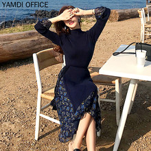 YAMDI autumn winter dress women 2019 new casual elegant office lady embroidery mesh contton a-line long long sleeve midi dress(China)