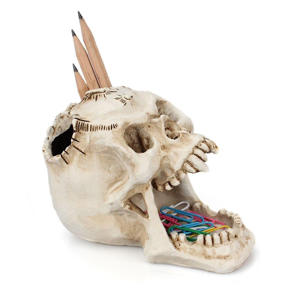 UnionKK White Skull Pen Holder Pins Paper Clips Office Desktop Ossuary Skulls Decor Halloween Decorative Skeleton Head Stationery Holder White Skull