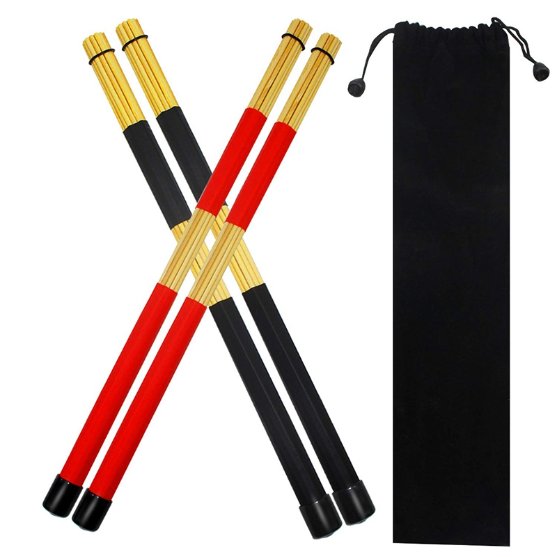 2 Pairs Drum Sticks Brushes Hot Rods Rute Jazz Drumsticks Practical Drumsticks for Skilled Drummers to Create New Sound of Drum image