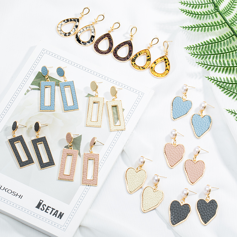 New Vintage Leather Earrings For Women 2019 Statement Korean Fashion Metal Geometric Hanging Dangle Earring Party Jewelry Gifts