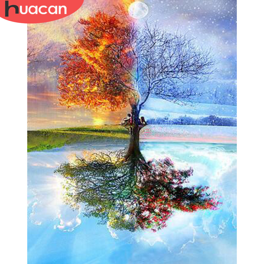 HUACAN DIY Oil Painting Tree Scenery Pictures By Numbers Four Seasons Landscape Kits Drawing Canvas HandPainted Home Decoration